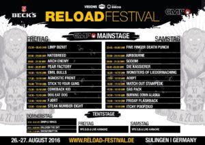 Reload Festival 2016 Timetable
